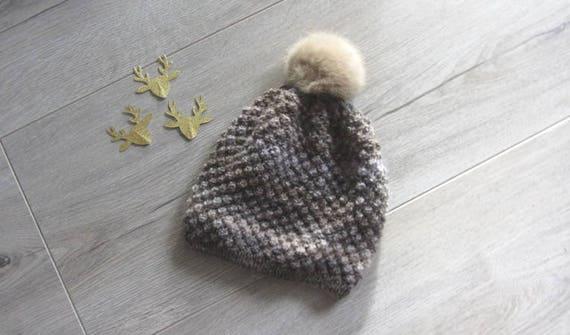 Bonnet tricoté main au point d astrakan pour enfant de 6 8   Etsy a281f6711aa