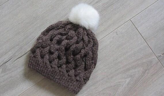 Bonnet tricoté main au point de vannerie pour enfant de 2 3   Etsy 46e8480b86d