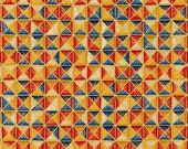 Patchwork fabric, Kaufman, blue, beige, ochre, red, nuanced, triangles in squares of 2 cm x 2 cm , set gold, 100 cotton, REF MULTI