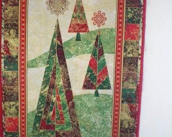 Red Green Christmas trees quilt Panel and gold 60 x 110