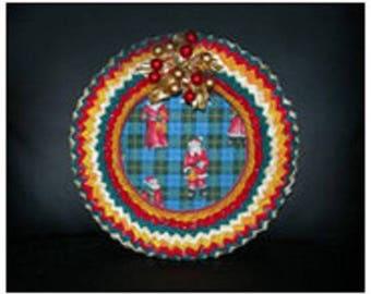 Multicolor patchwork fabric wreath