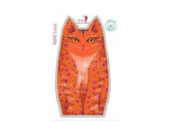 Kit sewing kitten, Odile bailloeul collection orange velvet fabric
