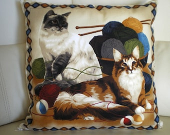 cushion with cat prints