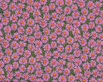 Patchwork fabric, pink daisies on green grass background, 100% cotton, REF 794P