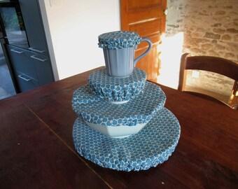 Charlotte round 4 sizes, in Japanese cotton duck blue, lined pul waterproof, ramekin, bowl, large bowl, pie dish, zero waste