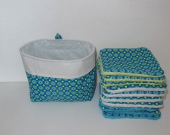 Washable wipes, baby wipes, make-up remover cottons, Petit Pan fabric, blue and neon green, bamboo sponge lined, minky, microfiber