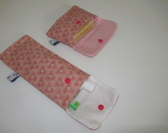 Soap pouch, and toothbrush and toothpaste case, in japanese cotton coated, pink, lined with white cotton prick