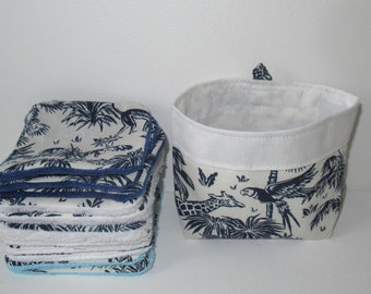 Washable wipes, makeup remover cottons, jungle fabric, navy blue, bamboo sponge lined, micro bamboo, minky, and microfiber of your choice