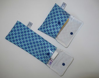 Soap pouch, and toothbrush and toothpaste case, in coated cotton, Petit Pan, blue, lined with white cotton prick