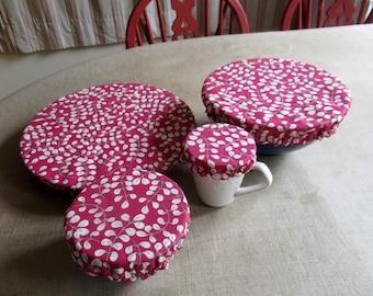 Charlotte round 4 sizes, cotton red white leaves, lined PUL waterproof, ramekin, bowl, large bowl, pie dish, zero waste