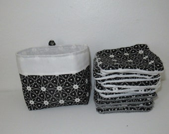 Washable wipes, baby wipes, cotton makeup removal, black and white cotton, bamboo sponge lined, minky, microfiber