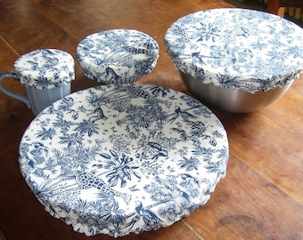 Charlotte round 4 sizes, cotton lined PUL waterproof, for ramekin, bowl, large salad bowl, pie dish, navy jouy canvas, zero waste