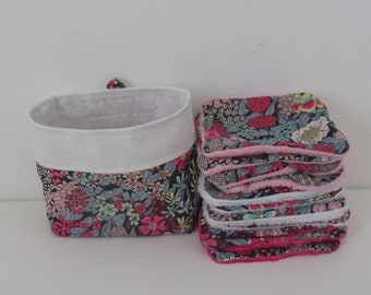 Washable wipes, baby wipe, make-up remover cotton, pink flowered liberty, bamboo sponge, minky, microfiber, micro bamboo of your choice