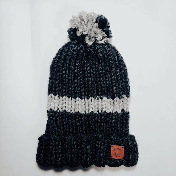 c07fb0cae1c Navy Blue   Gray Striped Pom Pom Hat Handmade Knit Winter Hat
