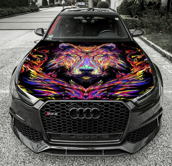 Abstract Flowers Hood Full Color Graphic Wrap Decal Vinyl Sticker Fit any Car 26