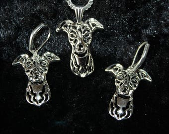 chain necklace and earrings greyhounds