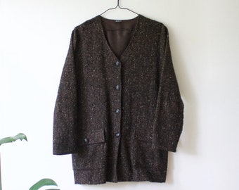 Vintage Women's Brown Cardigan Blazer // Buttoned Wool Blend Sweater Jacket // Mille Jocca Oy Finland // Finnish 90s Clothing // 40 Large