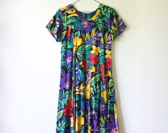 4c00327d94d55 Vintage Floral Hawaiian Hibiscus Flower Midi Dress // 90s Short Sleeve  Tropical Rayon Dress // Royal Creations Made in Hawaii USA // Small