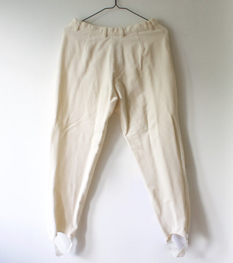Vintage Women/'s White Corduroy Stirrup Pants  Foot Strap Trousers  30 Waist  27 Length  Made in Finland  80s 90s Clothing