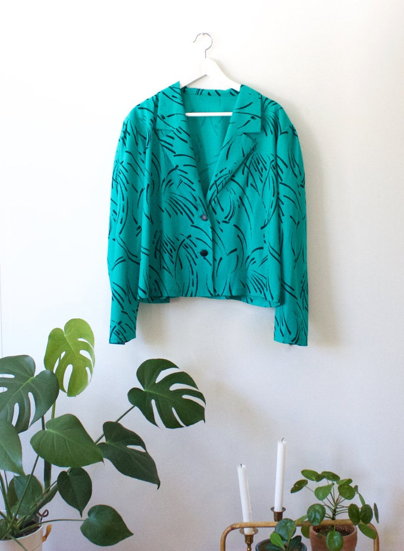 641e5a17e Vintage Turquoise Blue Blazer Jacket // Lightweight Abstract Long Sleeve  Blouse // Salonne Made in Finland // 80s // 44 XL Plus Size