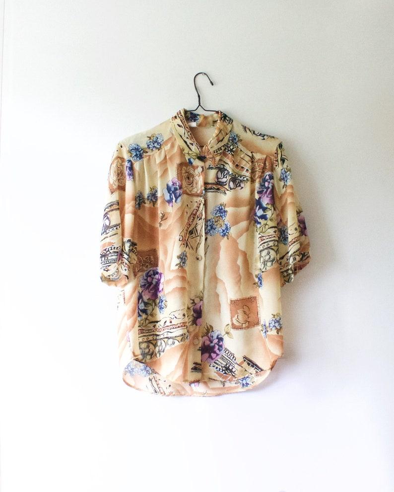 Women vintage beige floral print summer short sleeve blouse Size XL