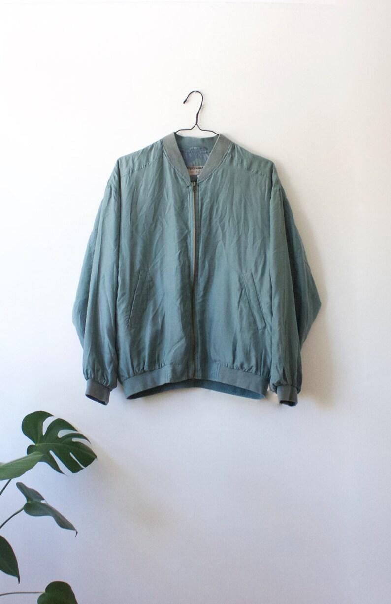 a41b7ba49 Vintage Men's Silk Greyish Blue Bomber Jacket // Lightweight Zip Up Jacket  // S Small // Basic Line // 80s 90s Clothing