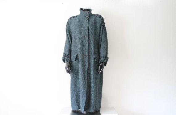 Vintage Blue Women's Long Wool Jacket // Long Alpa