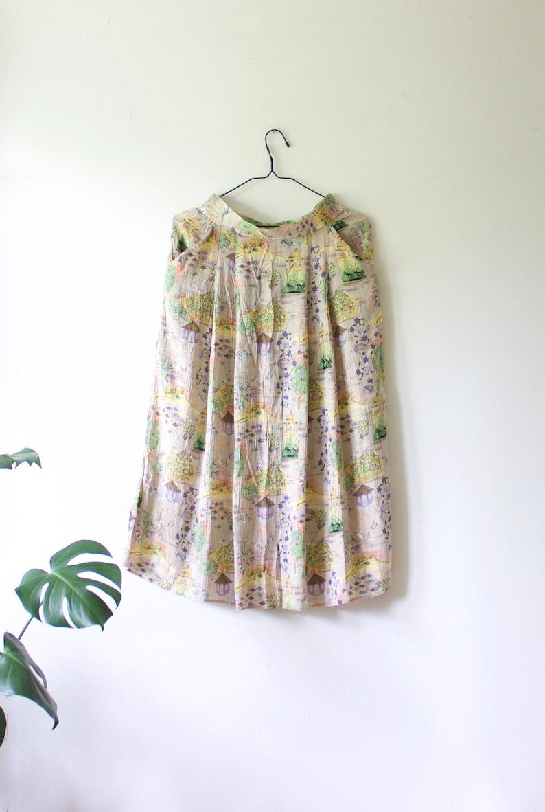 1d1c90c3c Vintage Beige Pastel Crinkled Midi Viscose Skirt // Asian Inspired Print //  Voglia Oy Finland // Finnish 80s 90s Clothing // 38 Medium