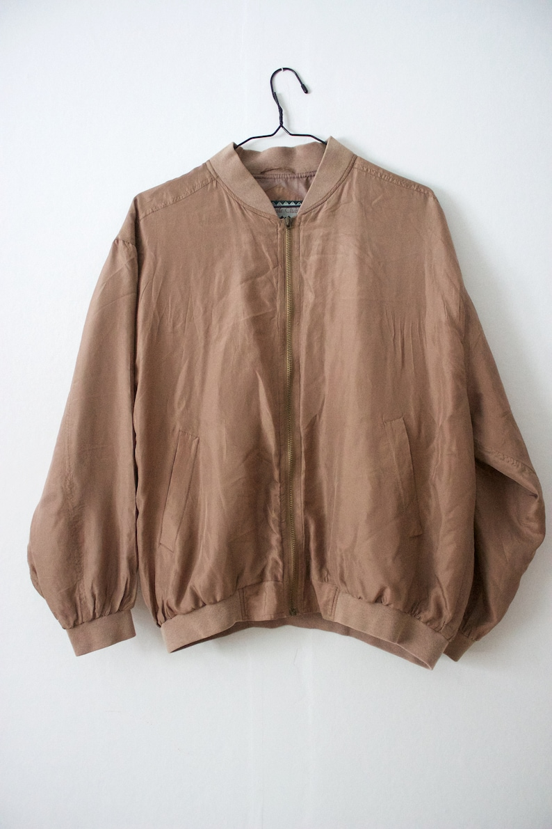 9dc275028 Vintage Men's Silk Light Brown Beige Bomber Jacket // Lightweight Zip Up  Jacket // S Small // Variable Club // 80s 90s Clothing