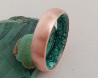 Copper ring, Raw stone ring, Turquiose stone, Malachite stone, His and hers, Wedding band, Mens wedding band, Womens wedding band, Unique