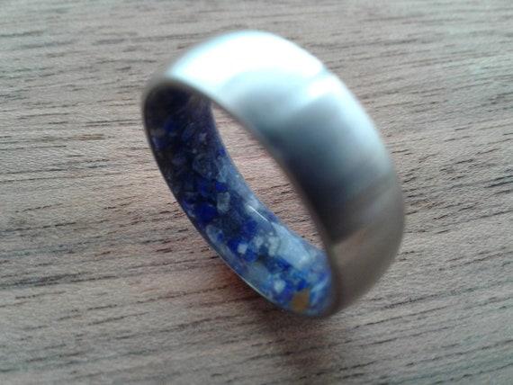 blue stone handmade ring mens ring lapis lazuli ring bentwood ring gemstone ring ring inlaid with lapis lazuli redwood woman/'s ring