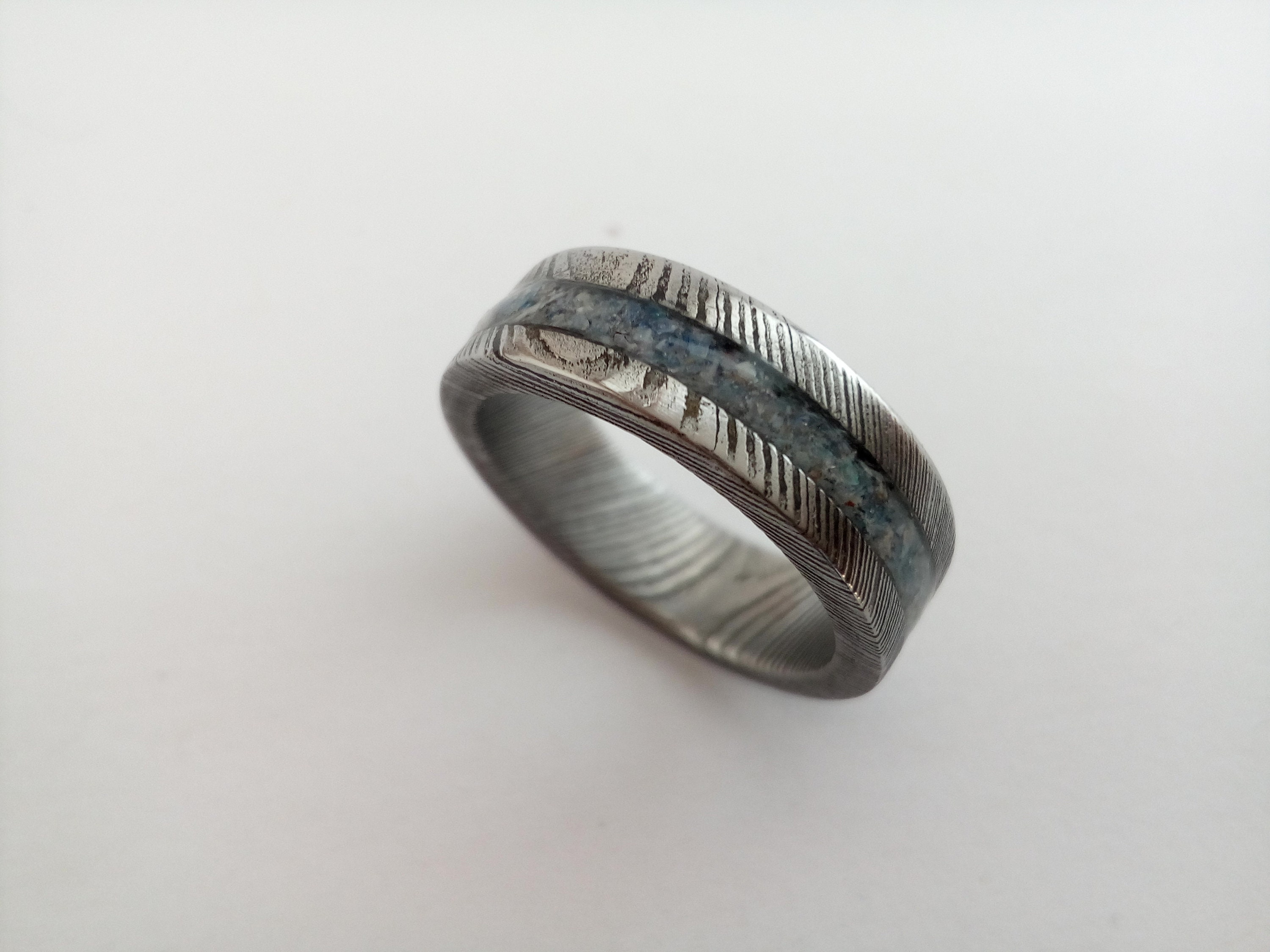 Romantic Wedding or Engagement Ring with Pearl Women by KREDUM |Damascus Steel Rings For Women