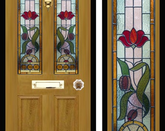 Custom made Victorian style stained glass door panels