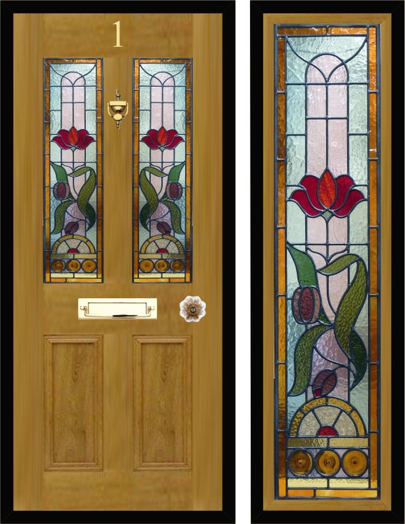 Custom Made Victorian Style Stained Glass Door Panels Etsy