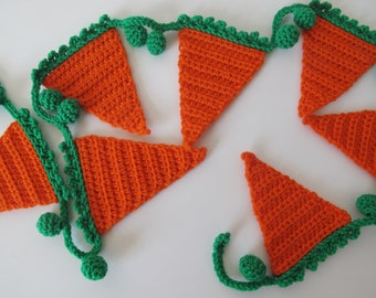 Orange crochet bunting with green trim