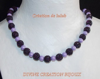 Purple ornament wedding or evening made of purple glass beads and crystal color beads