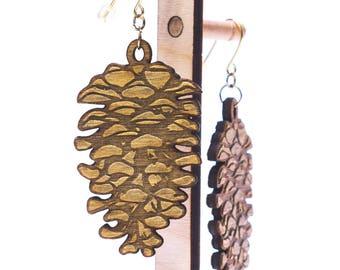 Wooden Pinecone Earrings