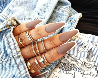 FRENCH cappuccino brown chocolate 10 nude press on nails | matte white tips false glue on nails |long short medium coffin stiletto ballerina