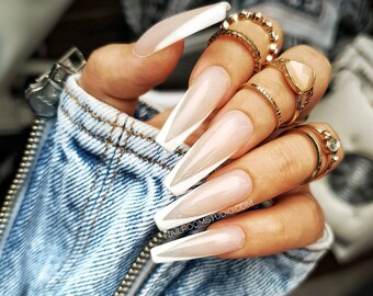 10 nails set Nude Half Transparent French press on | false glue on nails | glossy and long short medium coffin stiletto ballerina square