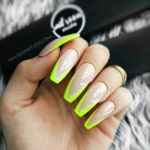 YELLOW FLUO FRENCH 10 nude press on nails | green fluo | wicca false glue on nails | glossy and long pop on coffin stiletto ballerina square
