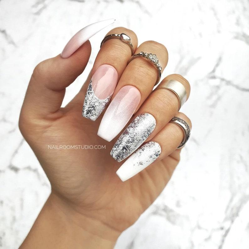 10 press on nails set  babyboomer french nude white silver image 0