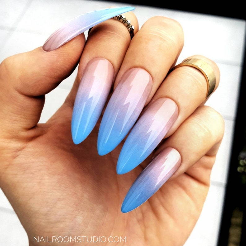 Nude blue ombre 10 custom false nails | gel acrylic artificial glossy matte  |long short square coffin almond stiletto | summer glue pop nail