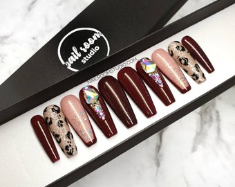 READY TO SHIP - S size - Long Sculpted Ballerina - 10 burgundy nails | opal big crystals french nude glitter leopard