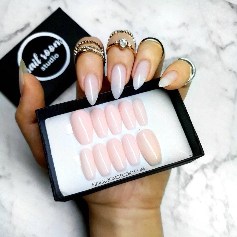 NUDE 10 basic press on custom nails shine or matte finish  image 0