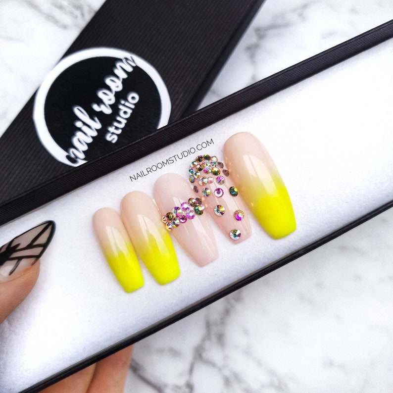 10 custom nails nude neon yellow ombre  matte chrome gold AB image 0