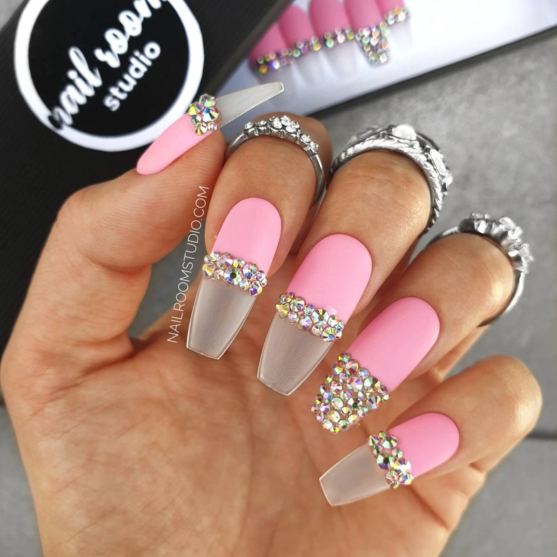 NEON pink FRENCH exclusive 10 press on nails  AB opal image 0