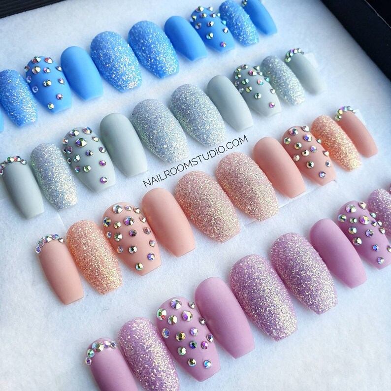 Nude exclusive 10 press on nails  opal rainbow crystals clear image 0