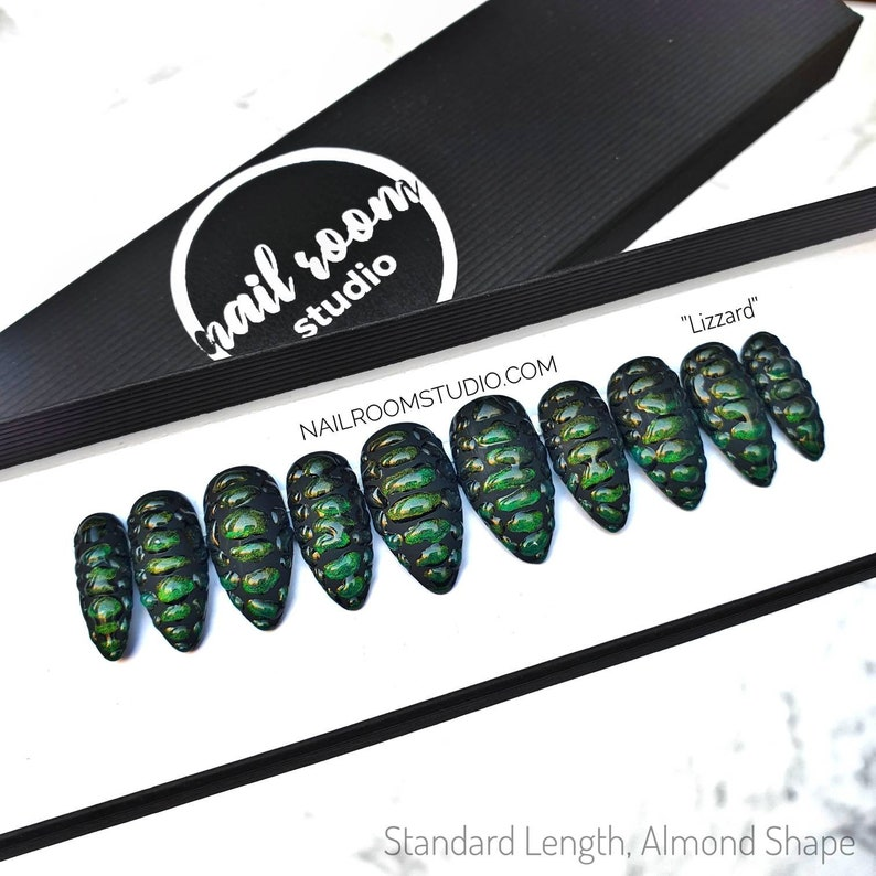 Lizzard dragon scales 10 press on nails  matte and glossy image 0