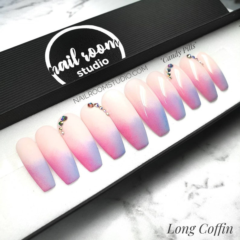 Candy Pills 10 press on nails nude pink baby blue ombre  pop image 0