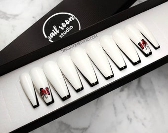 READY TO SHIP - S size - Long Sculpted Ballerina - 10 nails - White and Black French red butterflies press on nails